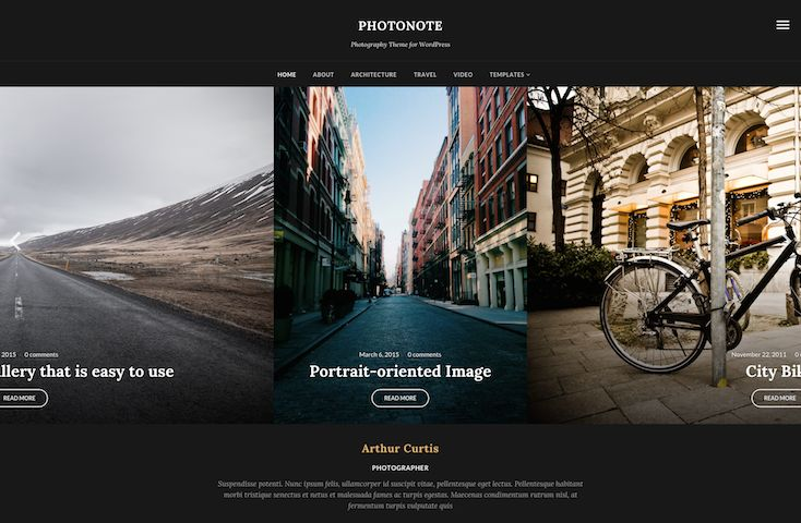 PhotoNote 2.0 WordPress Portrait Photography Theme