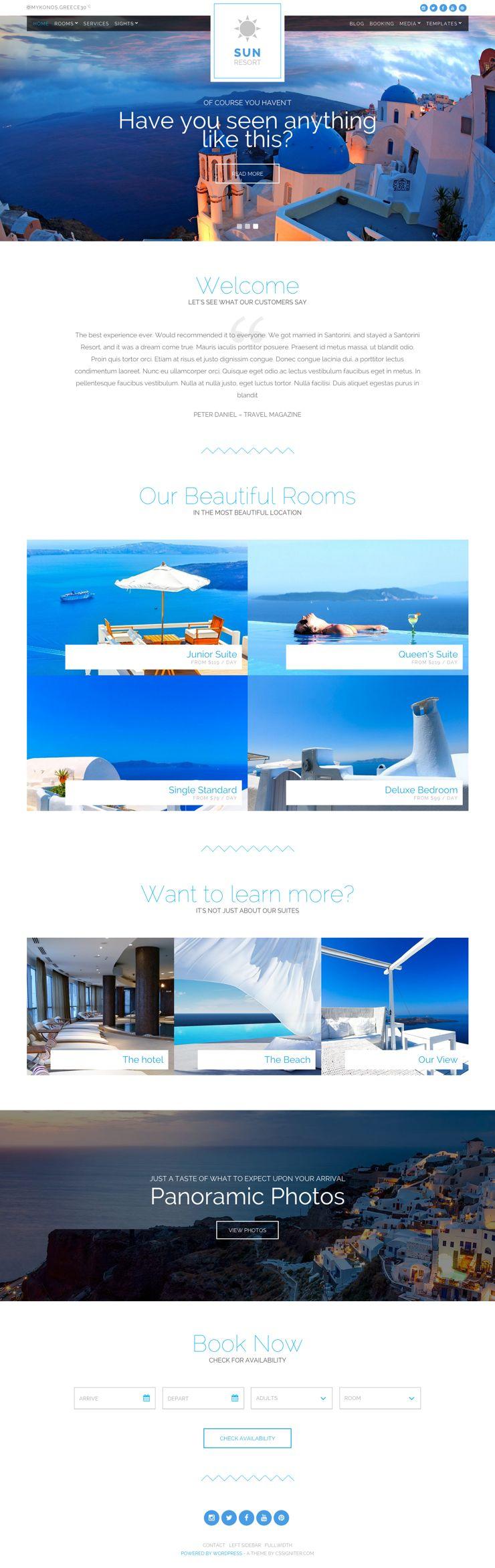 Sun Resort WordPress Hotel Booking Theme