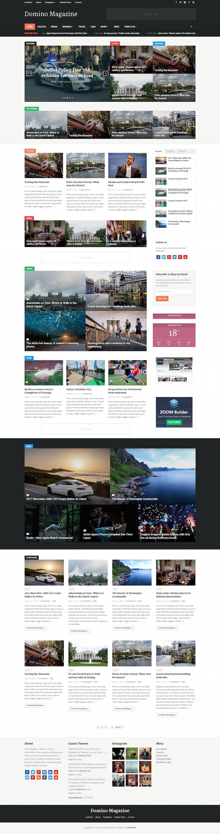 Domino Magazine WordPress Dynamic Homepage Theme