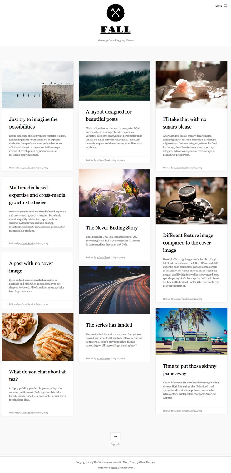 Fall WordPress Masonry Blogging Theme