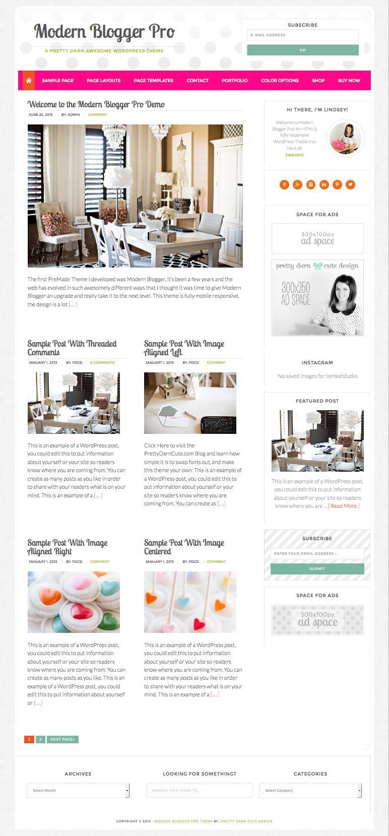 Modern Blogger Pro WordPress Feminine Blog Theme