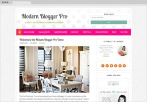 Modern Blogger Pro WordPress Feminine Pink Blog Theme