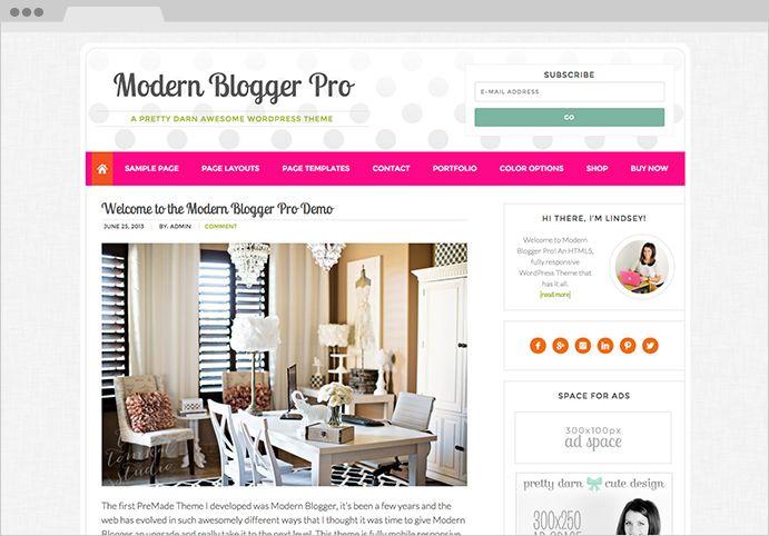 Modern Blogger Pro WordPress Pink Blog Theme