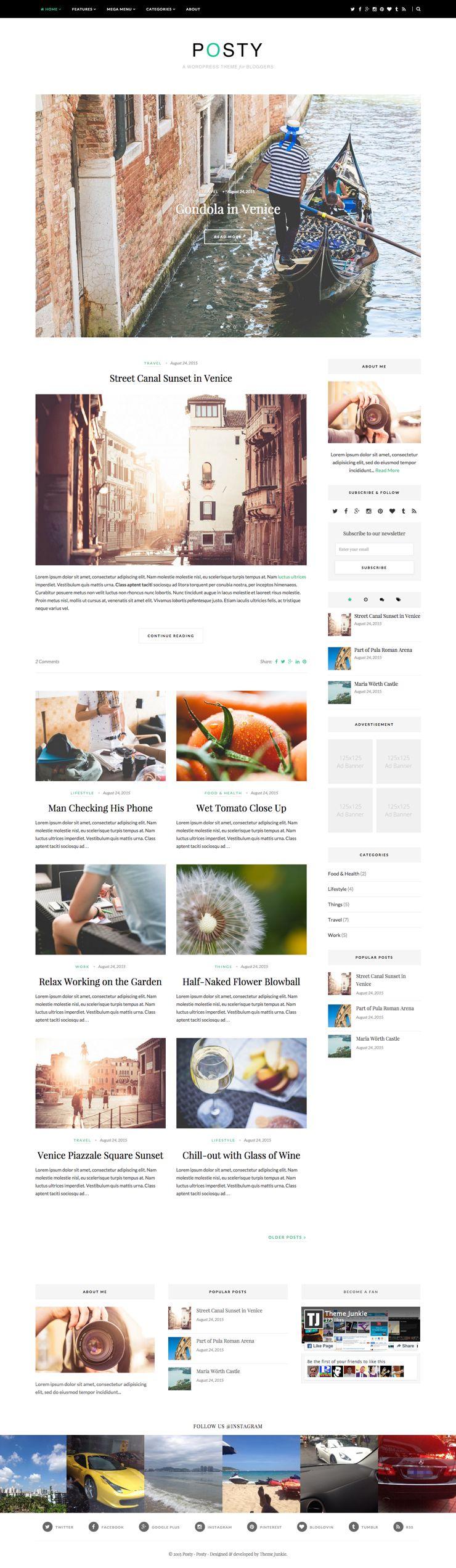 Posty WordPress Lifestyle Bloggers Theme