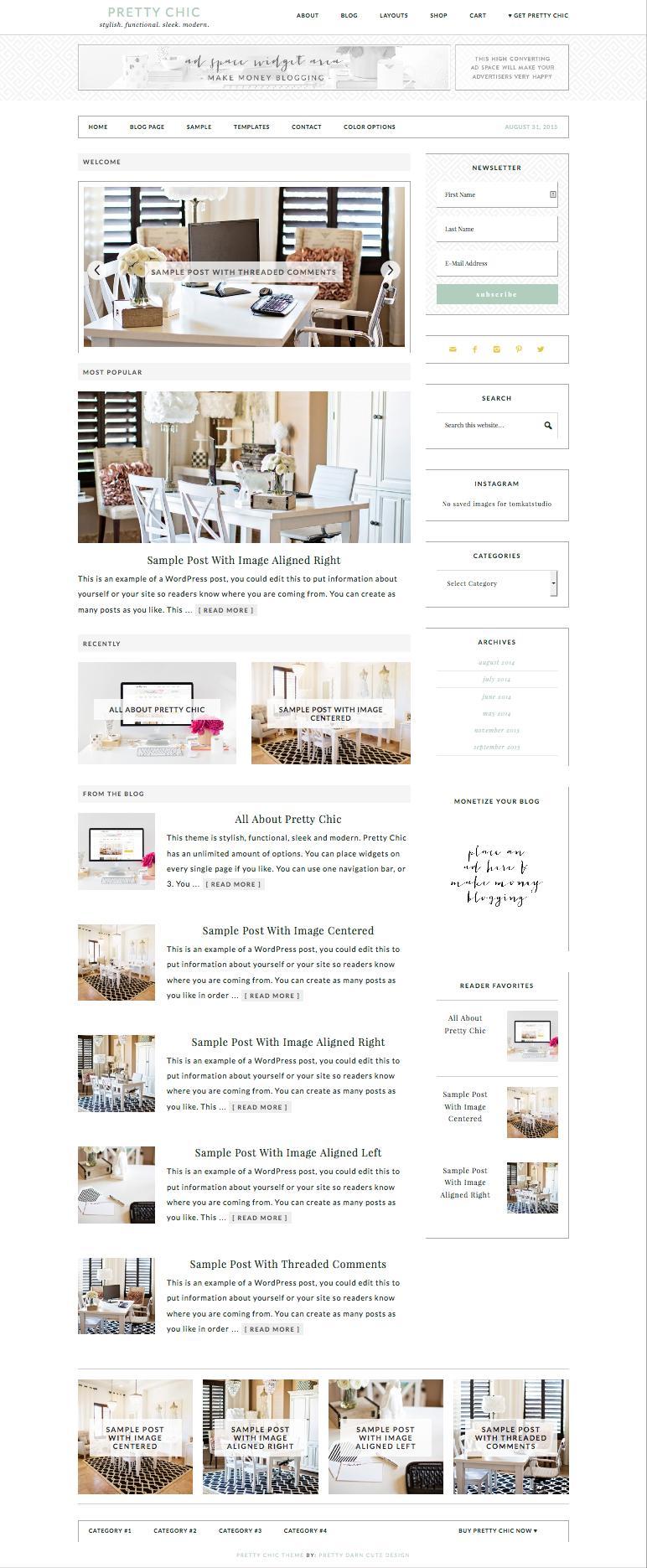 Pretty Chic WordPress Modern eCommerce Theme