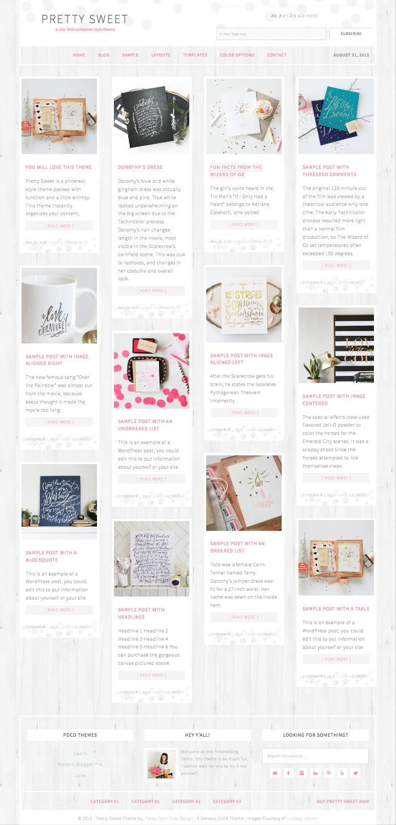 Pretty Sweet WordPress Pinterest Style Theme