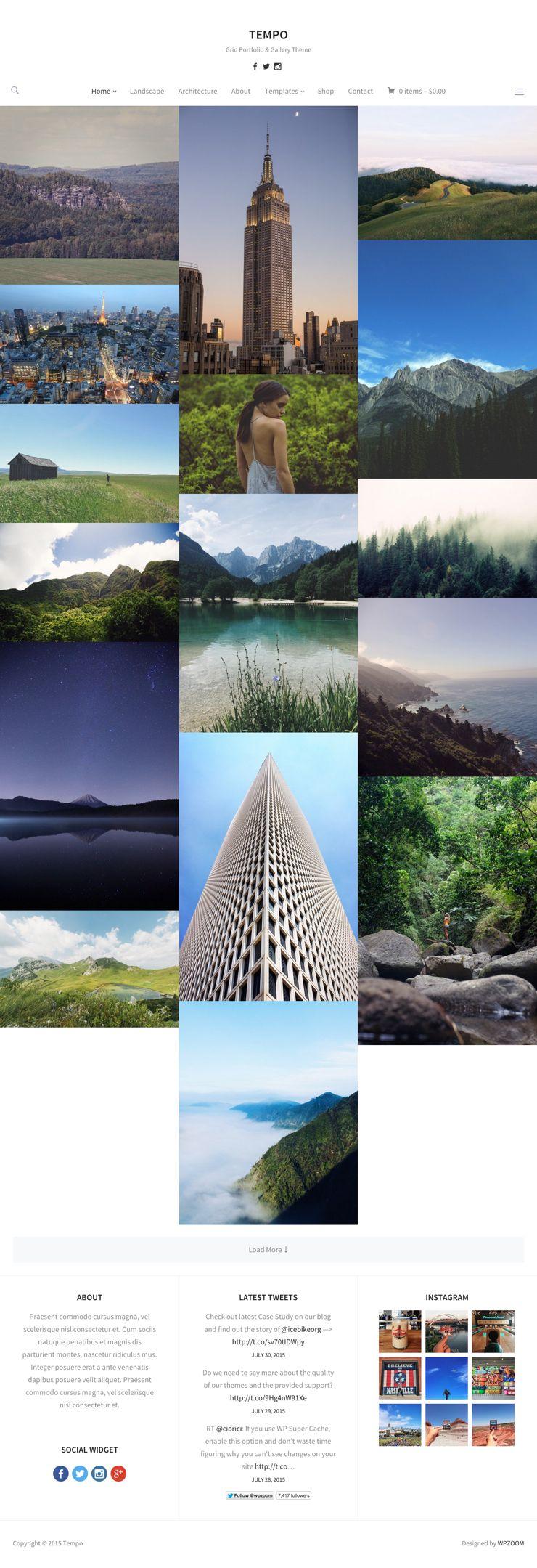 Tempo WordPress Grid Layout Photography Theme