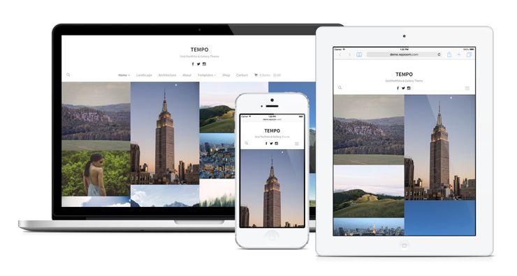 Tempo WordPress Masonry Or Grid Layout Theme for Photography