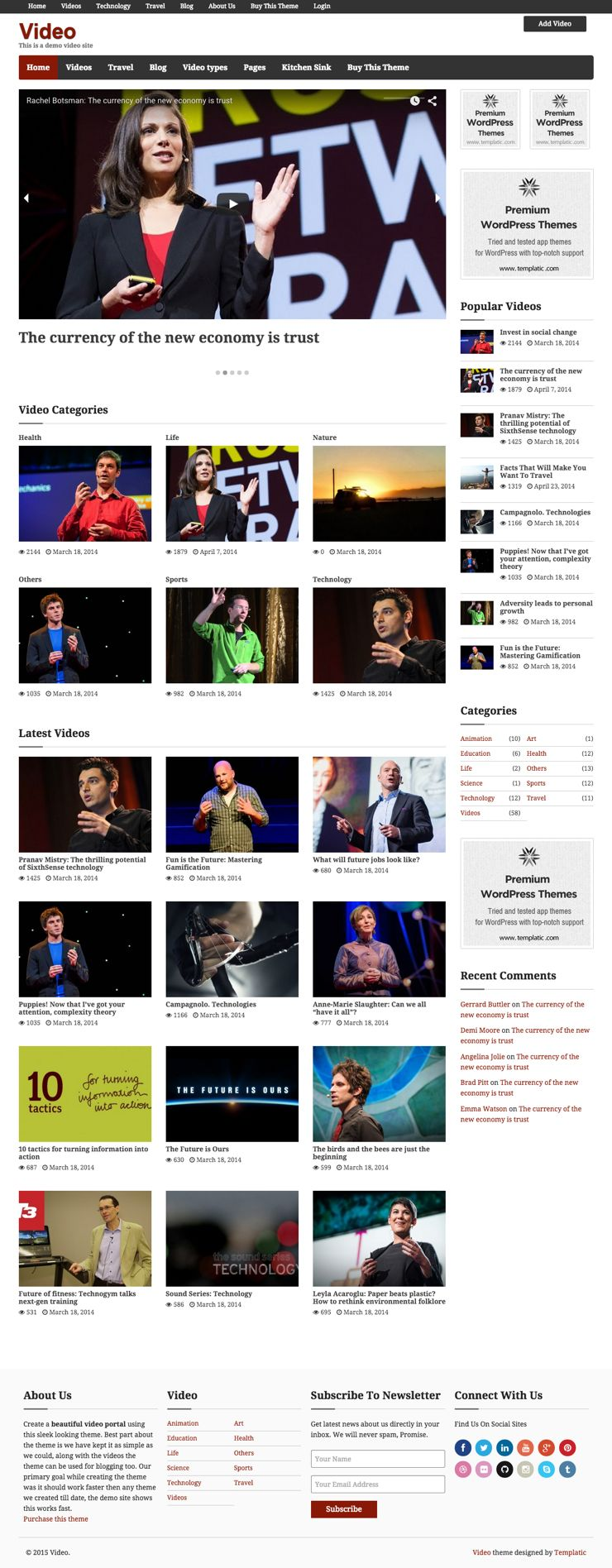 Video WordPress YouTube & Vimeo Theme