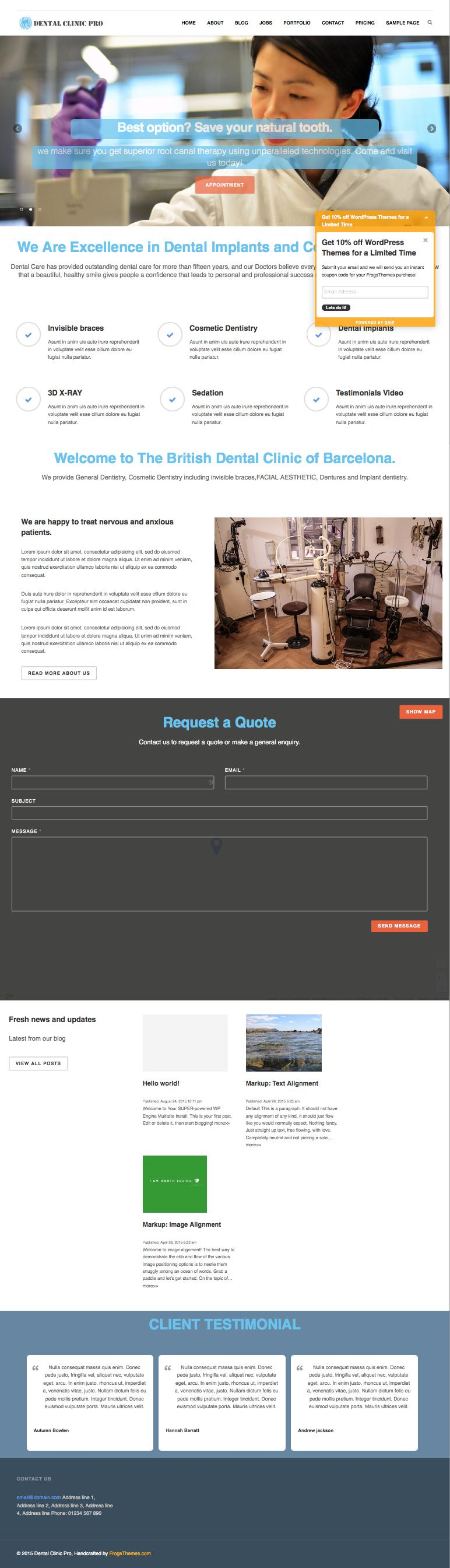 Dental Clinic Pro WordPress Doctors Theme