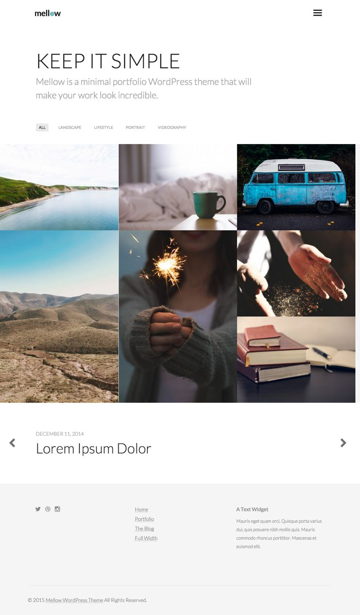 Mellow WordPress Masonry Portfolio Layout Theme