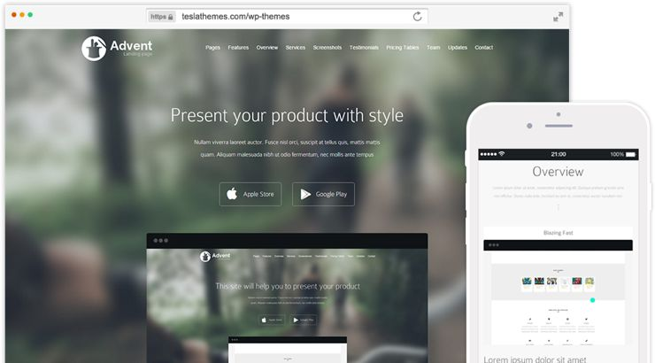 Advent WordPress Landing Page Theme