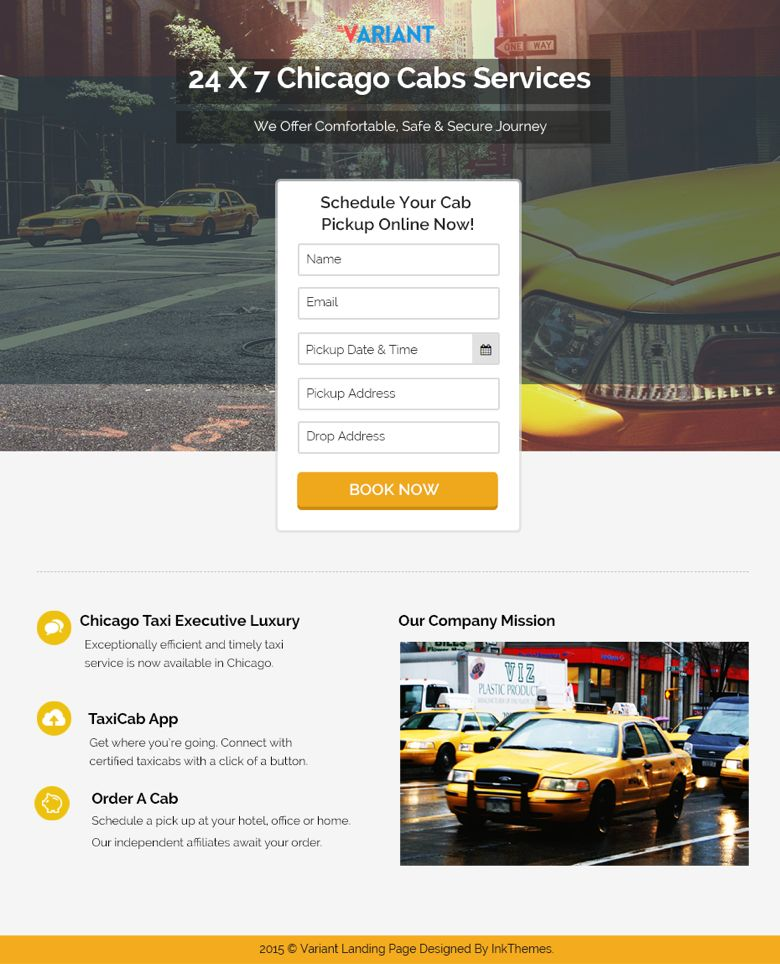 WordPress Taxi Booking Landing Page Theme
