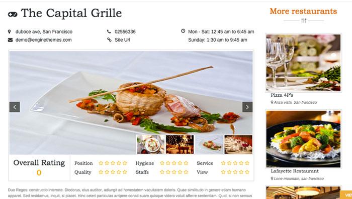 Display of Dining Restaurant Details