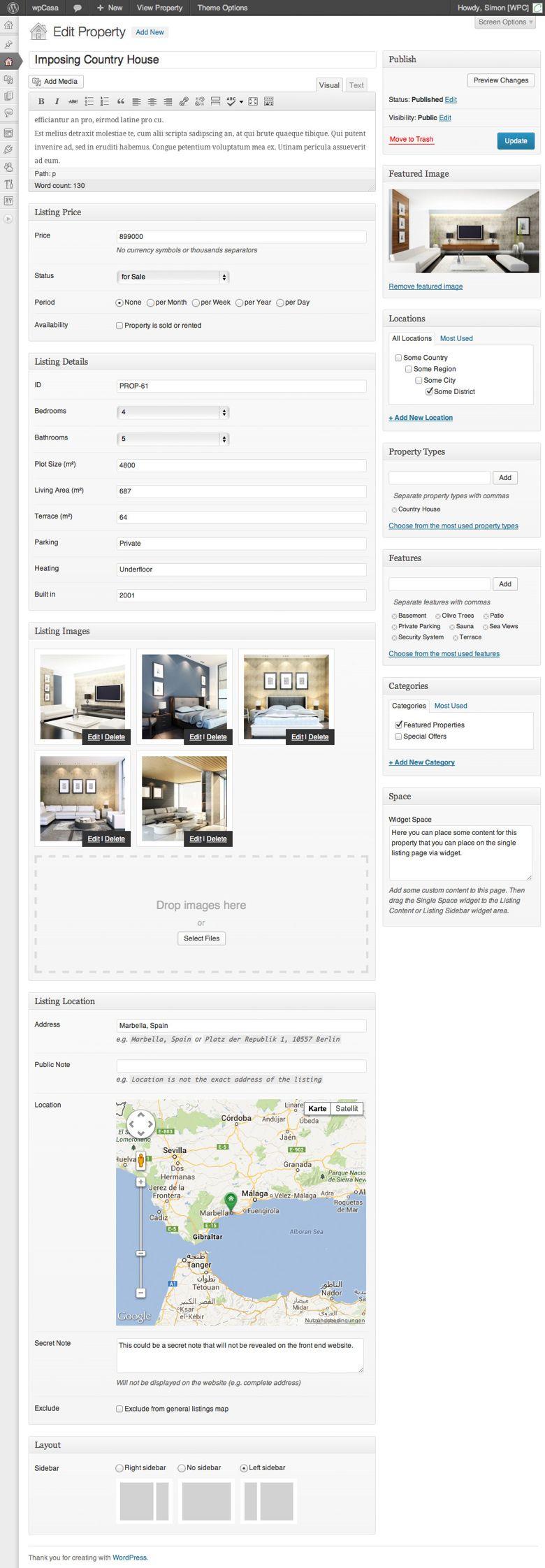 Individual Property Editing on WpCasa Framework