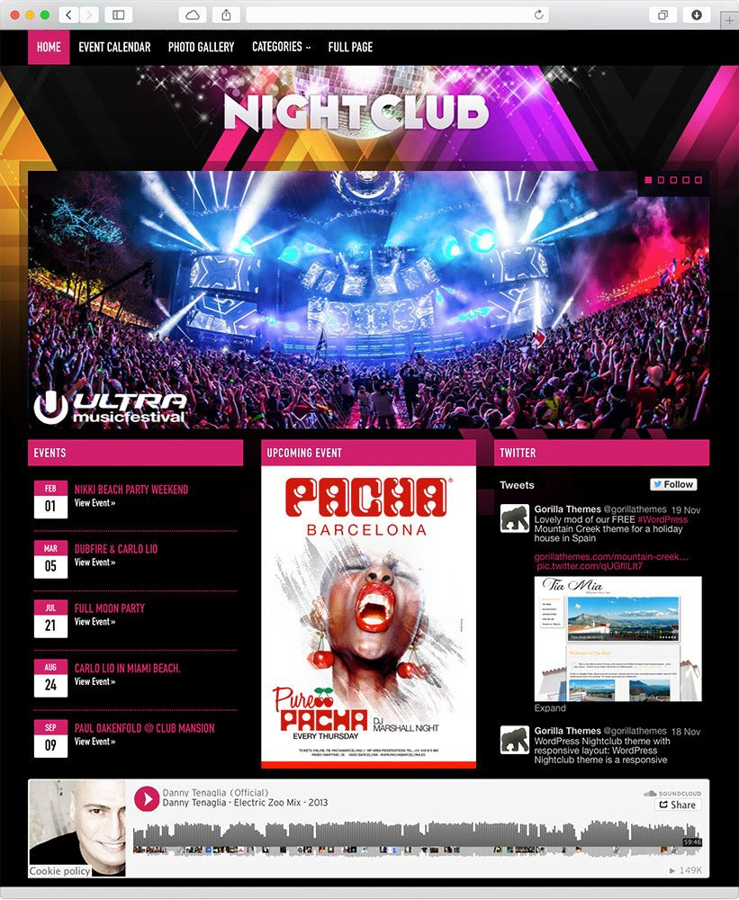 Nightclub WordPress Theme for Bars DJs