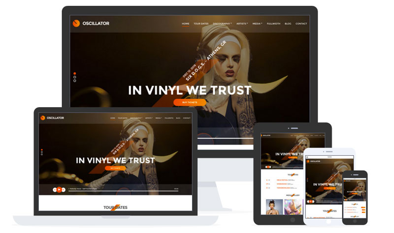 Oscillator WordPress Musician, DJs, Events Theme