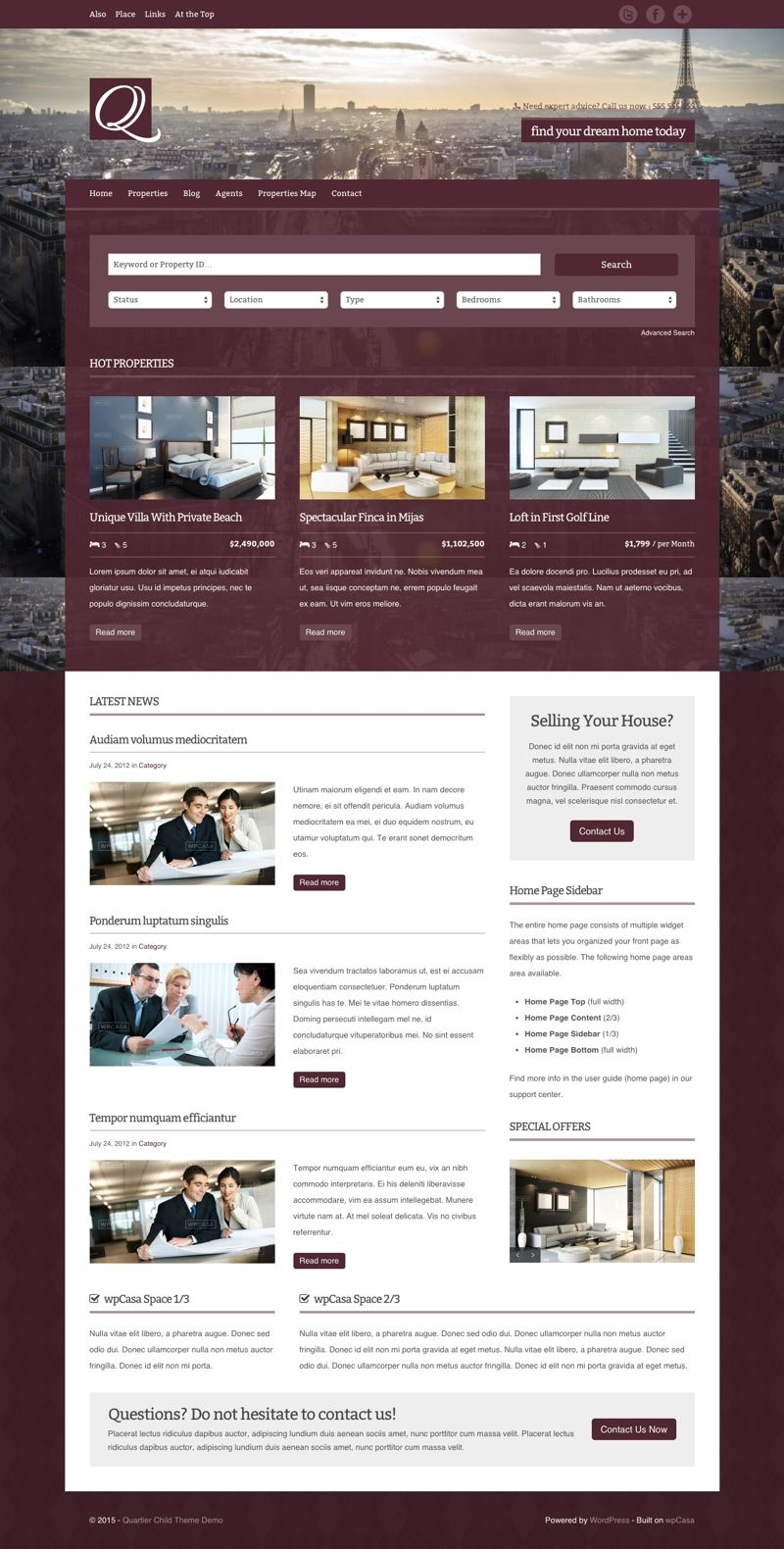 Quartier WordPress Real Estate Agents Theme