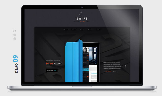 SWIPE Mobile App WordPress Theme