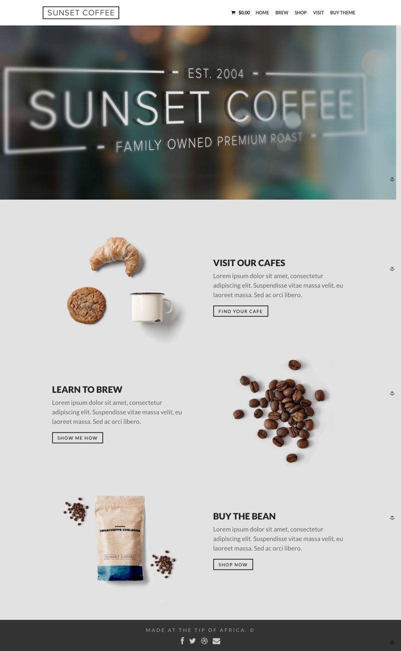 Sunset Coffee WordPress Cafe, Bars Theme