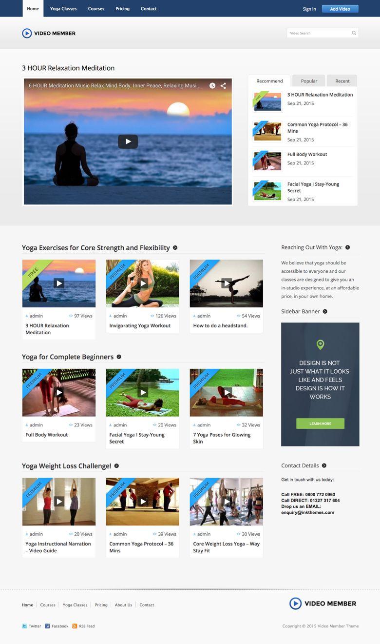 Video Member WordPress Yoga Training Video Theme