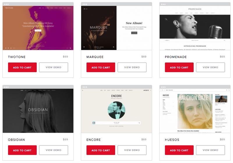 AudioTheme WordPress Musician Themes