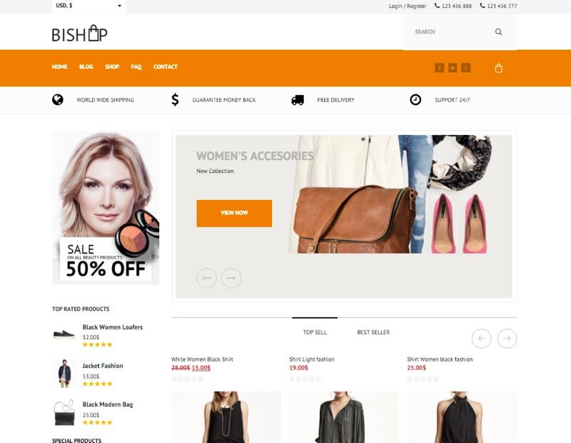 BiShop WordPress Clothing Theme - Homepage Layout 2