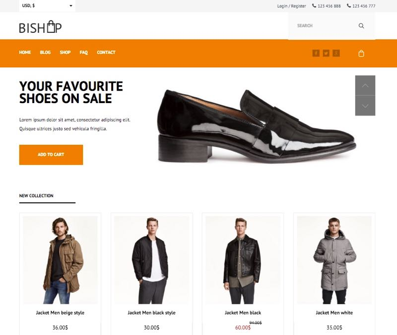 BiShop WordPress Mens Cloth Theme - Homepage Layout 3