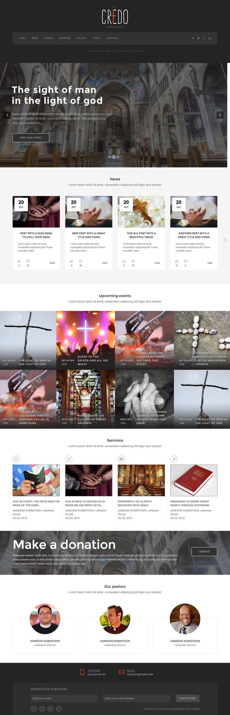 Credo WordPress Church Events Theme