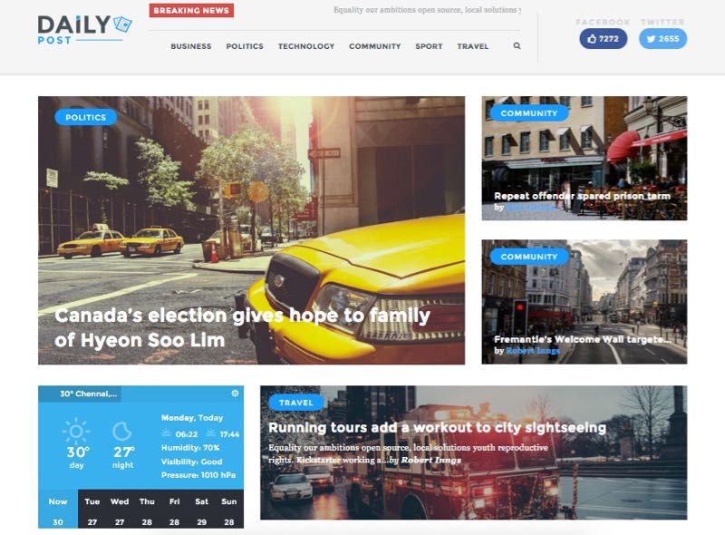 Daily Post WordPress Theme – Homepage Layout 1