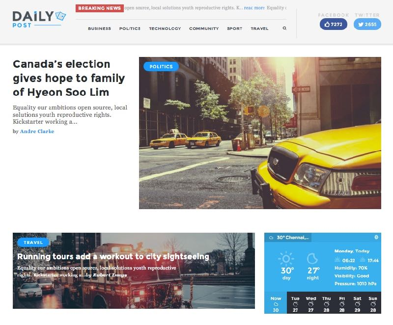 Daily Post WordPress Theme – Homepage Layout 2