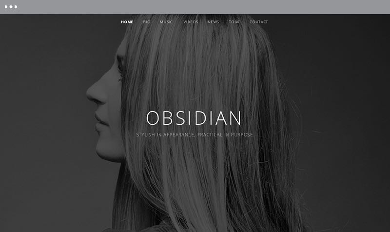 Obsidian WordPress Music or Band Theme