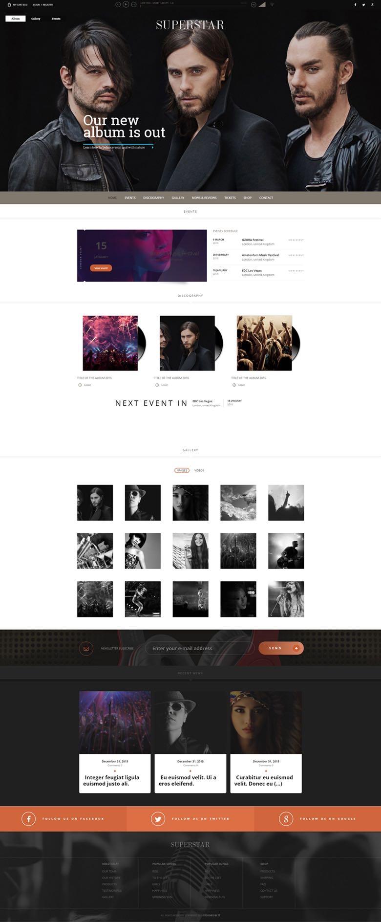 Superstar WordPress Music Bands Theme