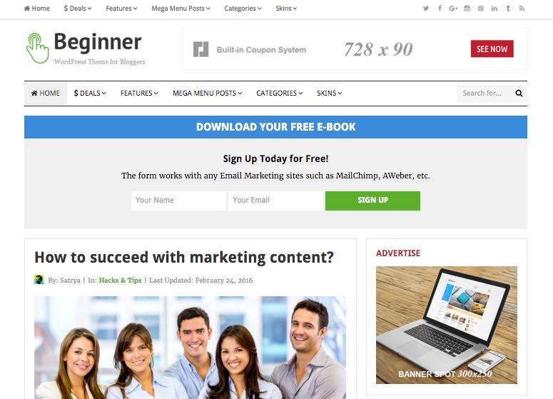 Beginner WordPress Marketing Blog Theme
