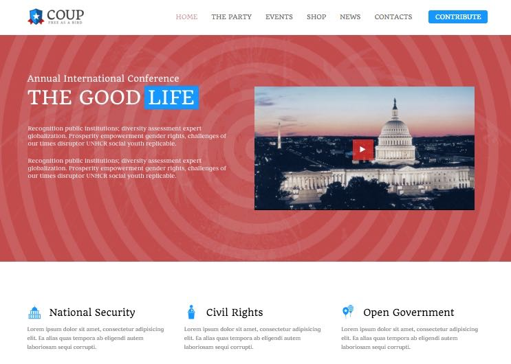 Coup WordPress Charity & Political Theme