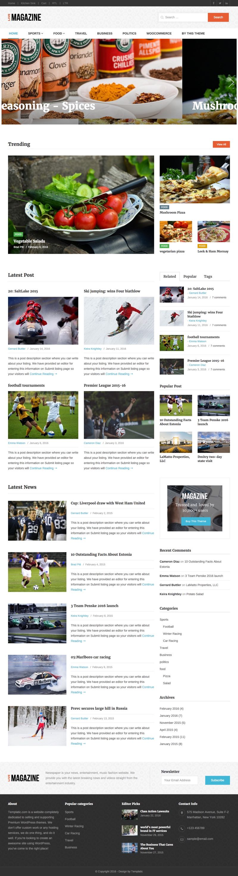 LiveMagazine WordPress Bootstrap Framework Theme