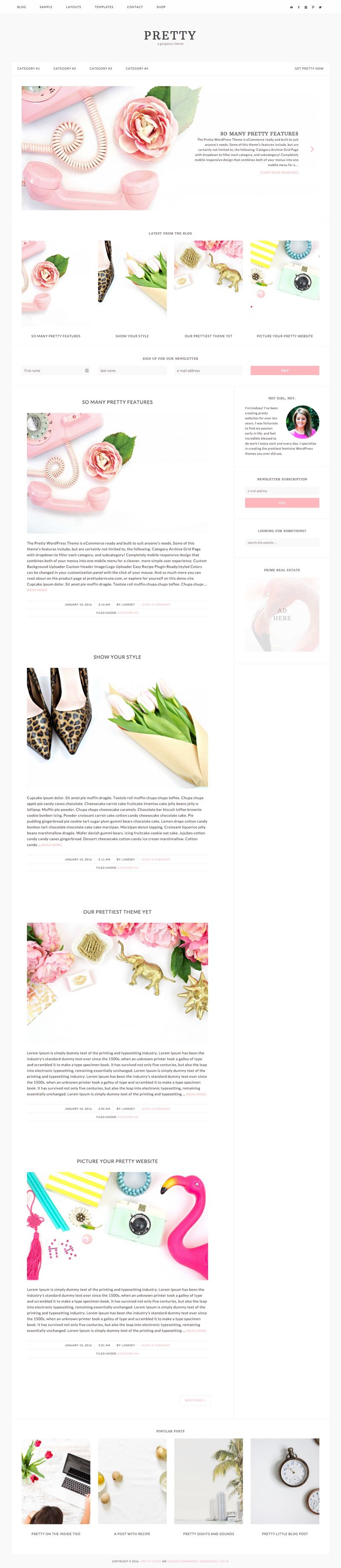 Pretty WordPress Female Entrepreneur Theme
