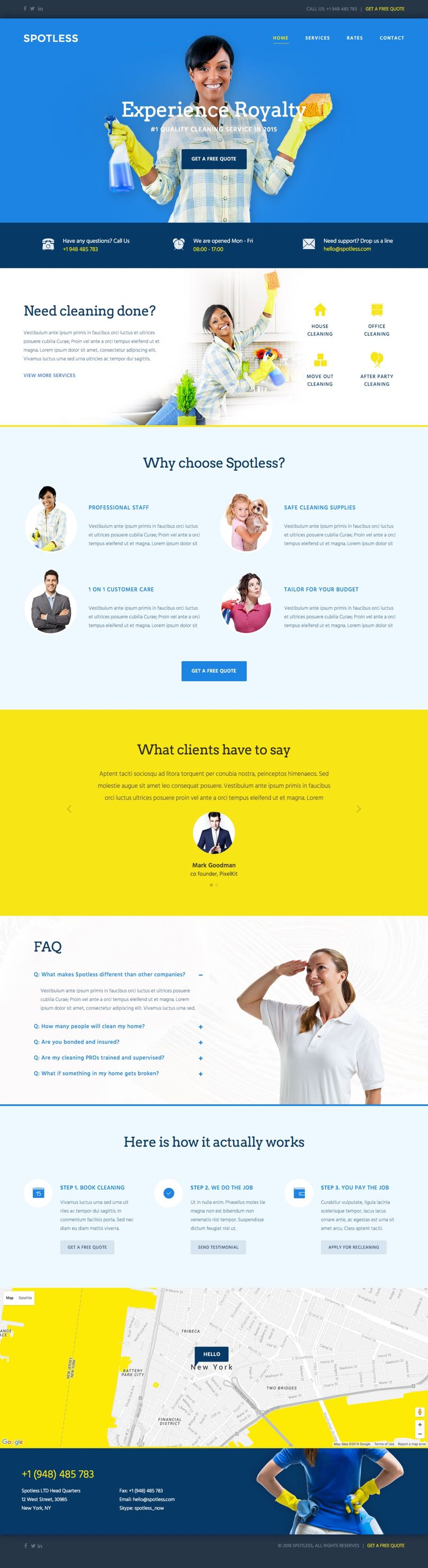 Spotless WordPress Cleaning Company Theme