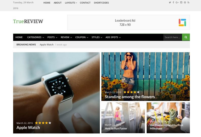 TrueReview WordPress Editorial Reviews & Ratings Theme