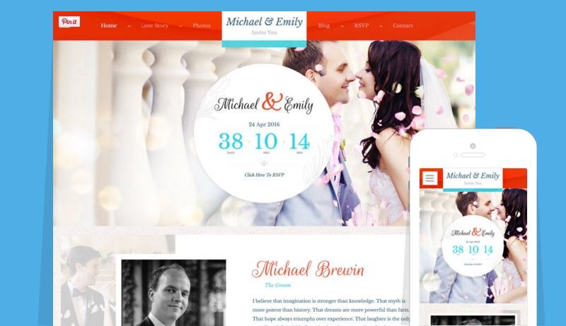 Wedding WordPress Marriage / Love Memory Theme