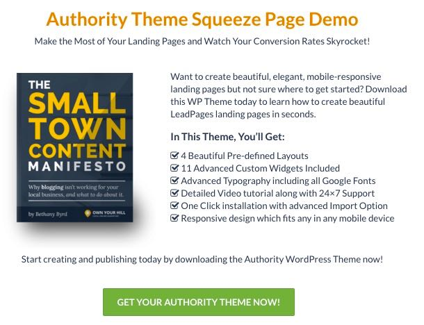 Authority Squeeze Page WordPress Landing Page Theme