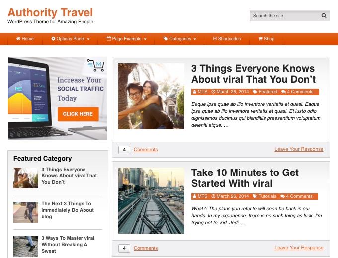 Authority Travel WordPress Blog Theme