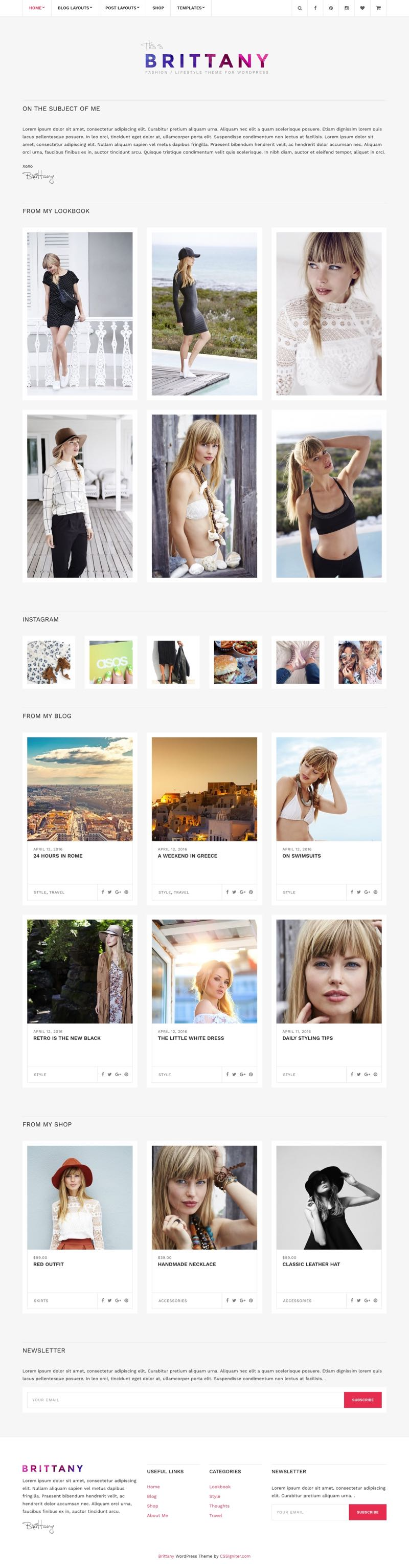 Brittany WordPress Fashion Bloggers Theme