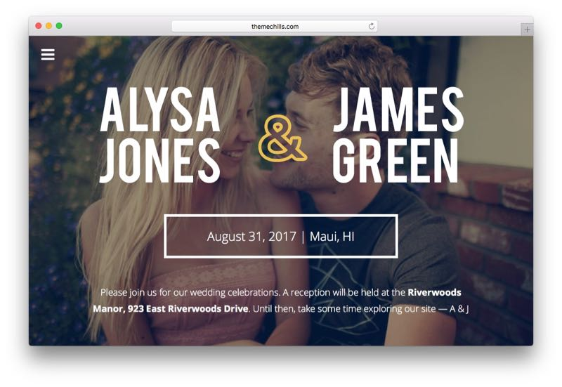 Cherished WordPress Wedding Couple Theme