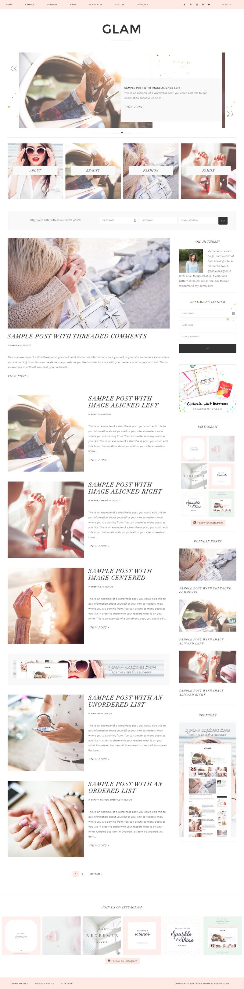 Glam Pro WordPress Lifestyle Blogger Theme
