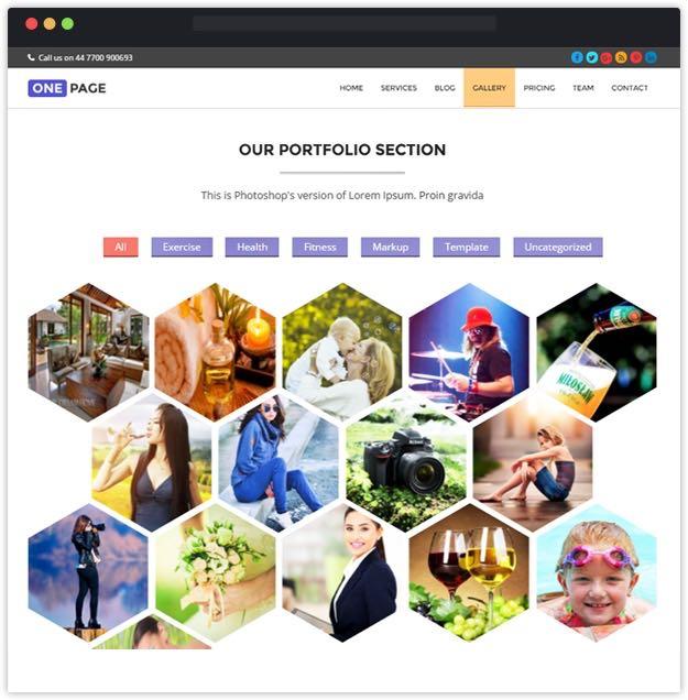 Hexagon Portfolio Section - One Page Theme