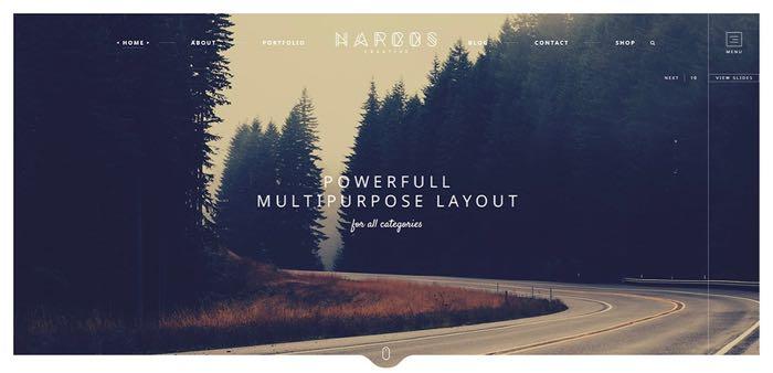 Narcos WordPress Theme - Homepage Default