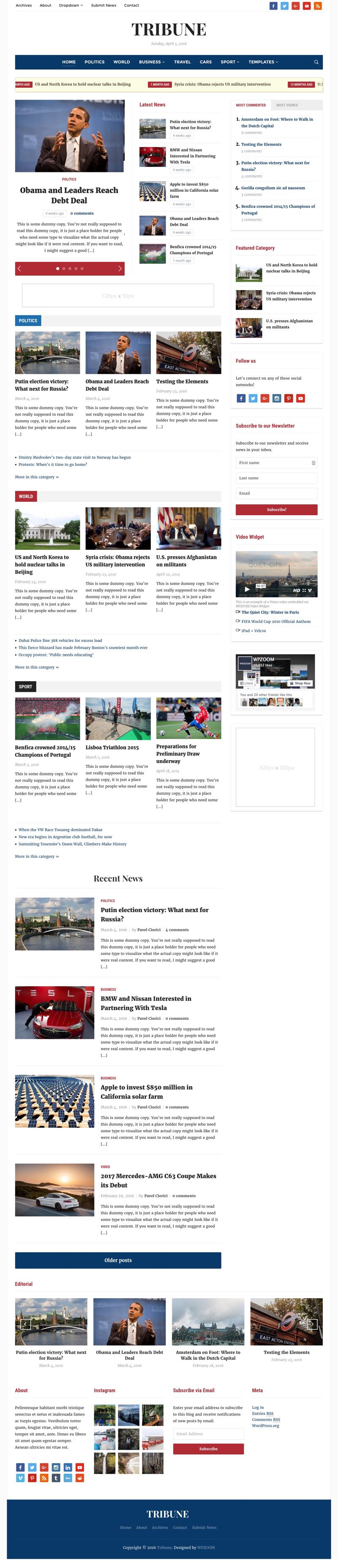 Tribune 4.0 WordPress Newspaper Theme