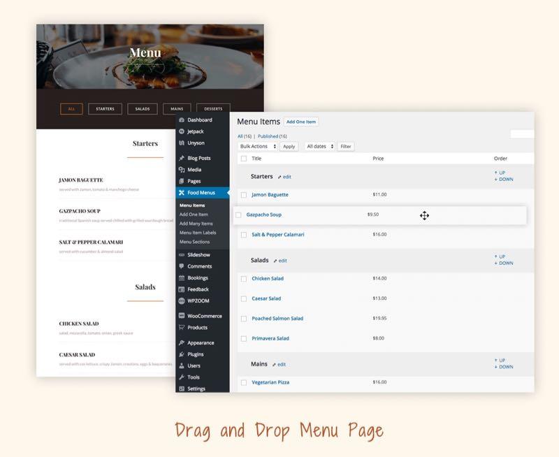 Delicio WordPress Theme - Food Menu Page Template
