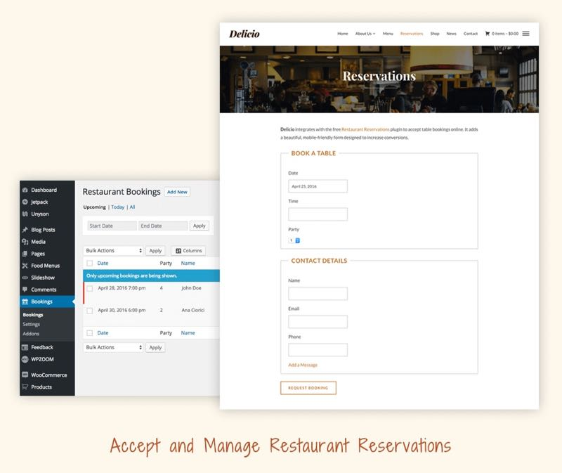 Delicio WordPress Theme - Restaurant Reservations